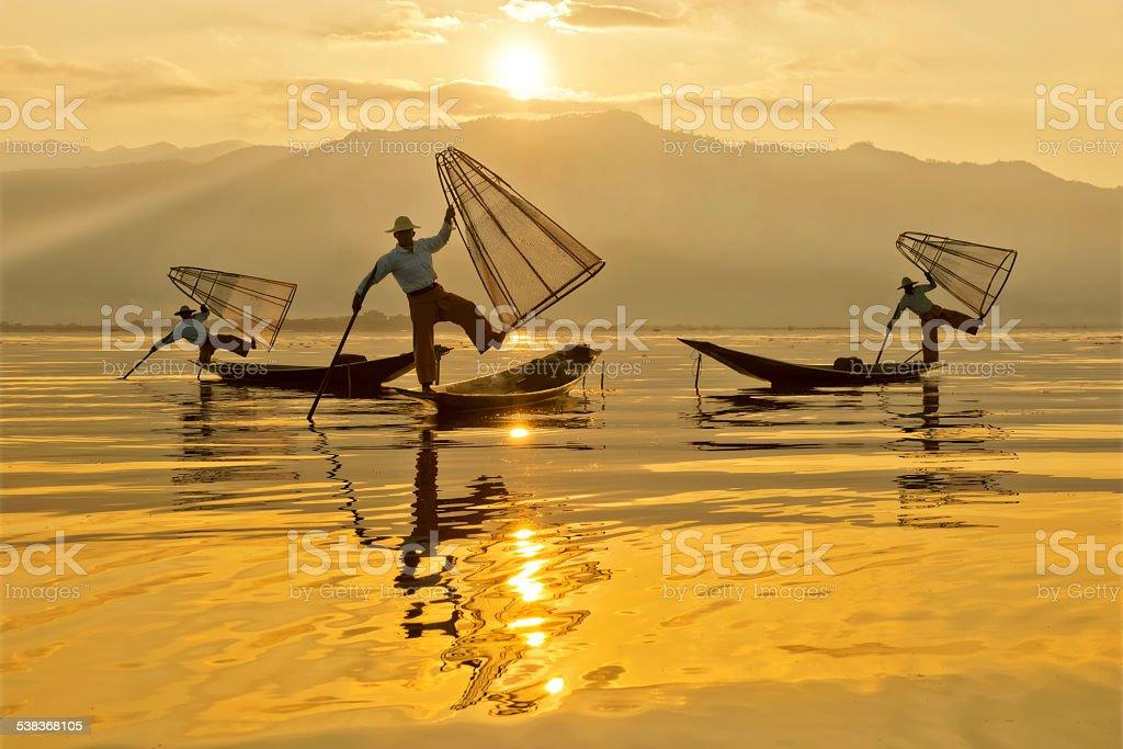 Intha Fishermen At Dawn stock photo