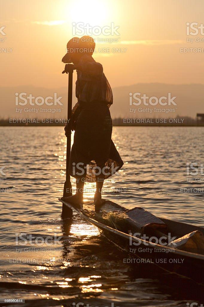 Intha people in Inle Lake, Myanmar stock photo