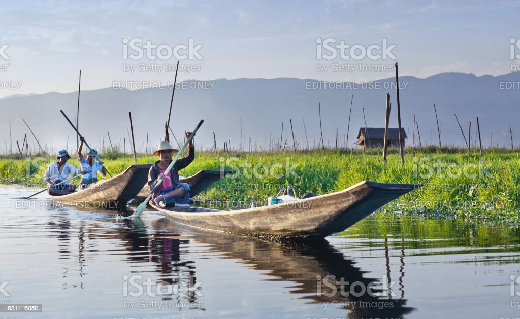 Intha people on Inle Lake in Shan State of Myanmar stock photo