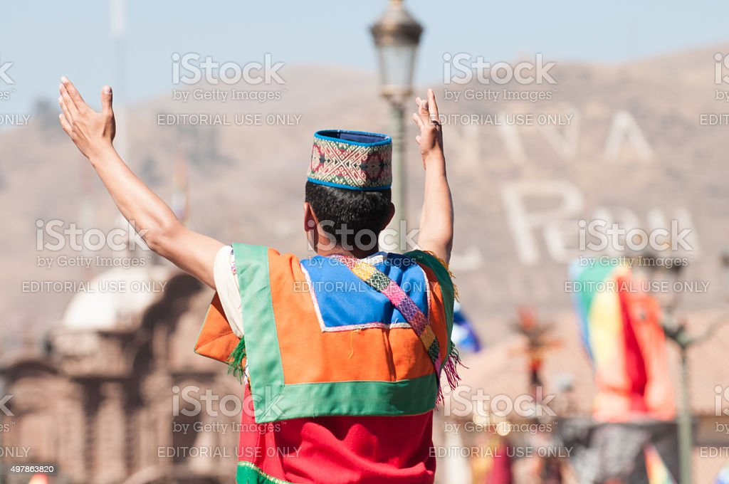 Inti Raymi Festival. Religion and tradition, Inca. Cusco, Peru. stock photo