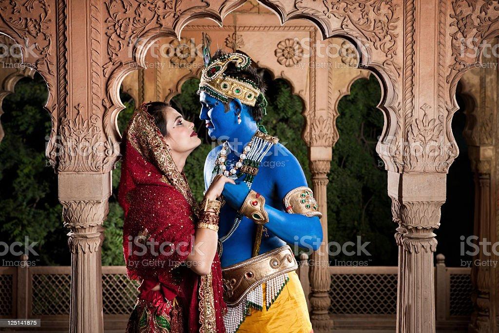 Intimate Lord Krishna and Radha stock photo