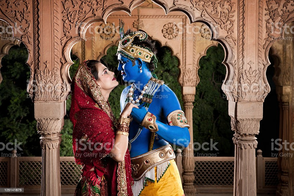 Intimate Lord Krishna and Radha stock photo