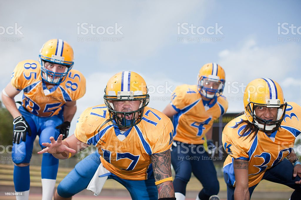 Intimidating football players stock photo