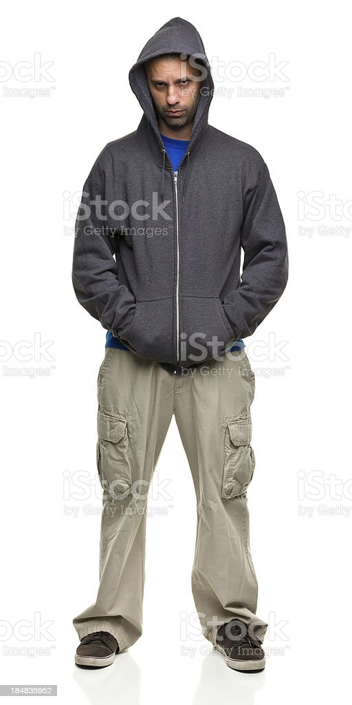 Intimidating Man in Hooded Sweatshirt royalty-free stock photo