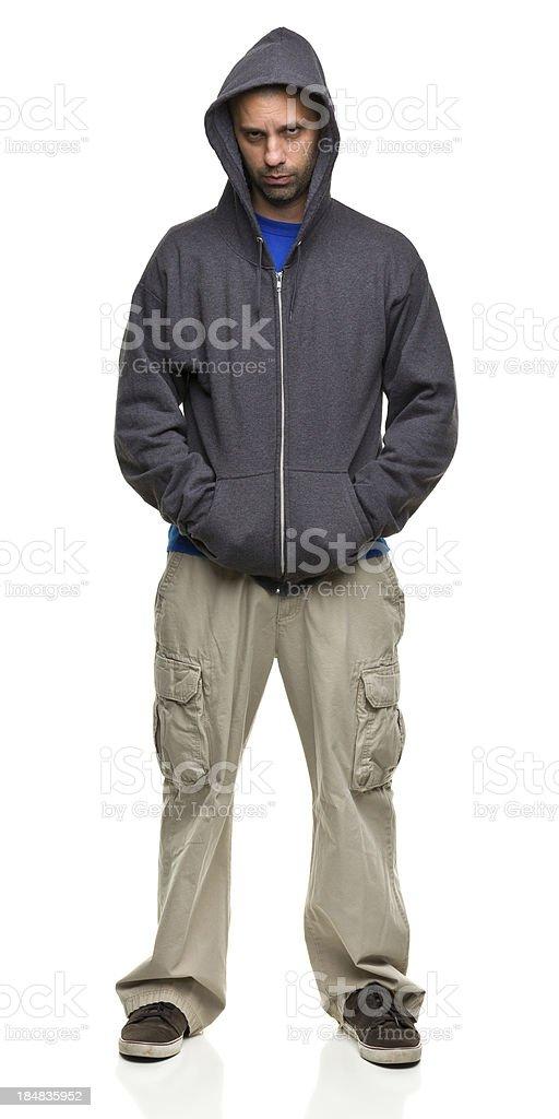 Intimidating Man in Hooded Sweatshirt stock photo