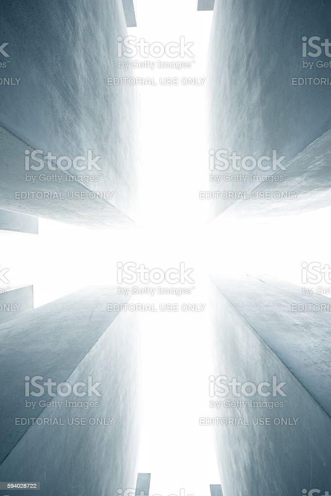 Into the bright light, Holocaust Memorial Berlin stock photo