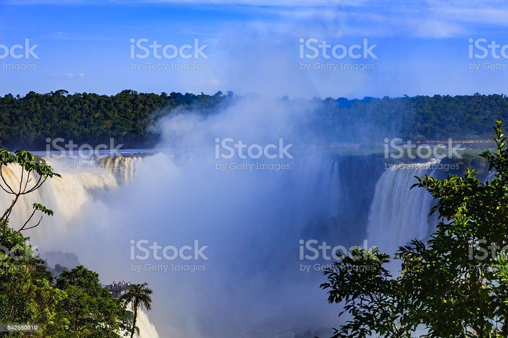Into the Devil's Throat: Iguassu Falls between Brazil and Argentina. stock photo