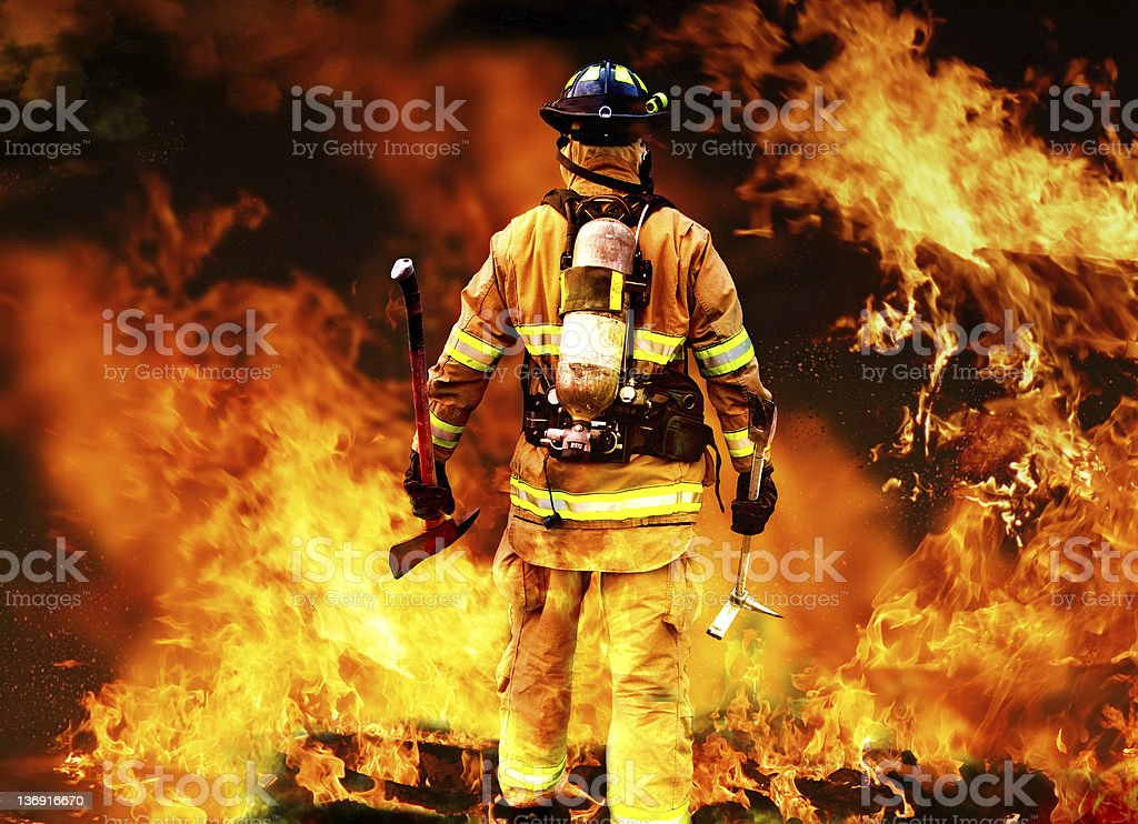 Into the fire stock photo
