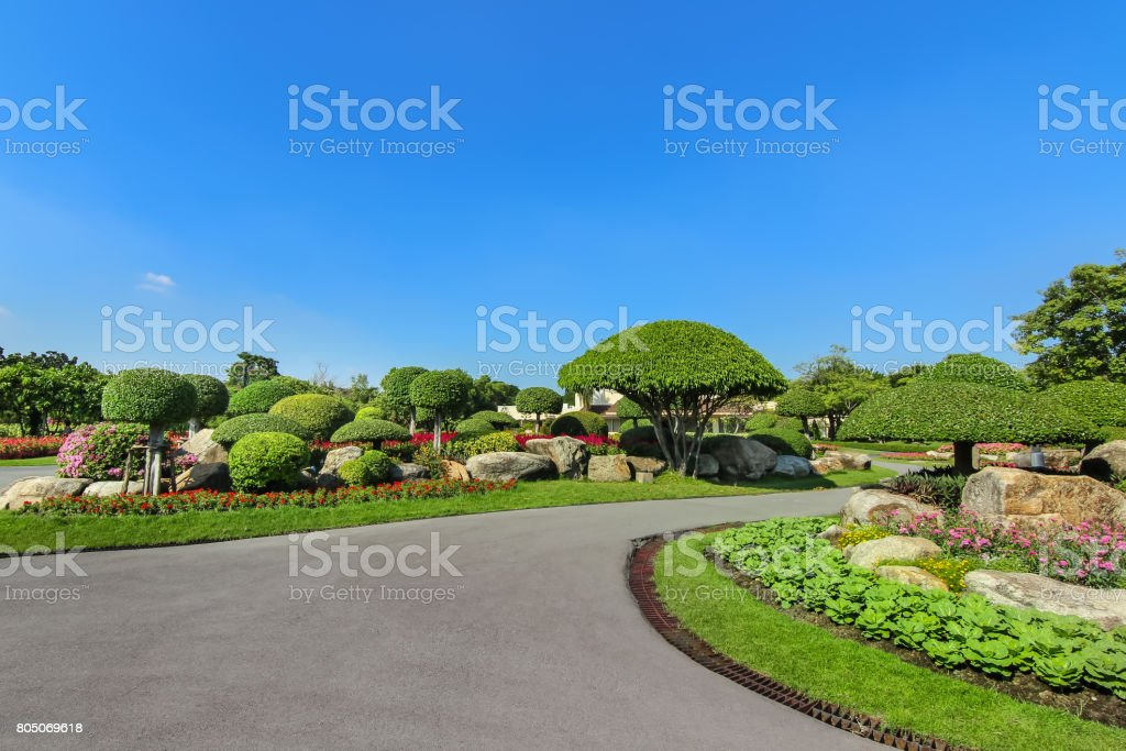 Into the garden, beautiful scenic park stock photo