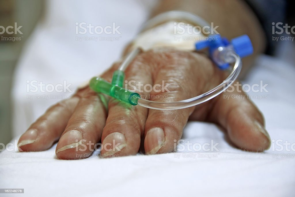 Intravenous blood infusion stock photo