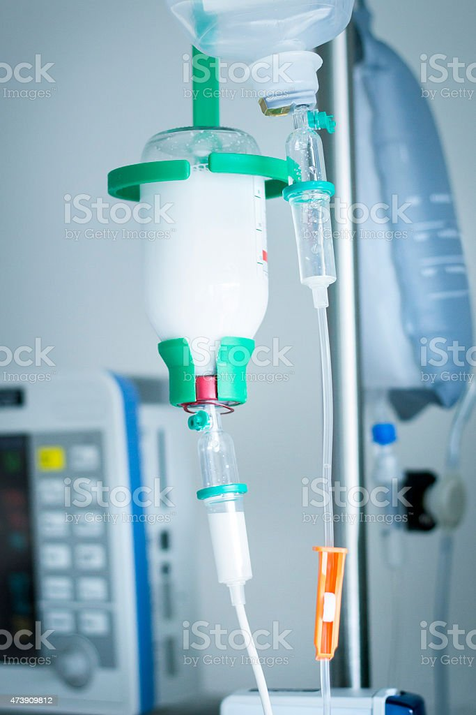 Intravenous drip medication in the hospital, ICU stock photo