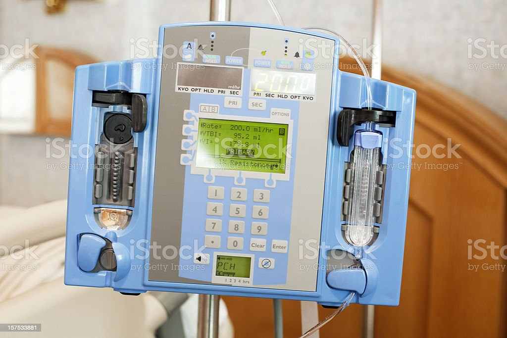 Intravenous IV Drip Infusion Pump in a Hospital Room stock photo