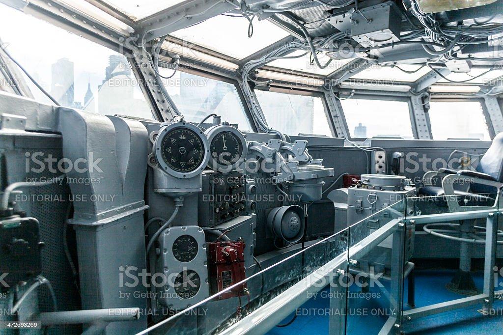 USS Intrepid Battleship's Bridge stock photo