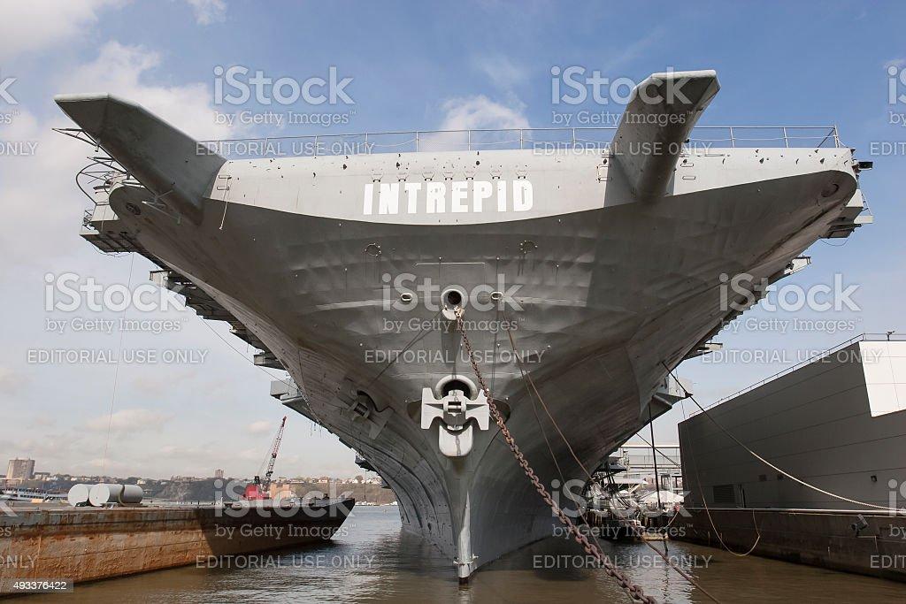 USS Intrepid in New York stock photo