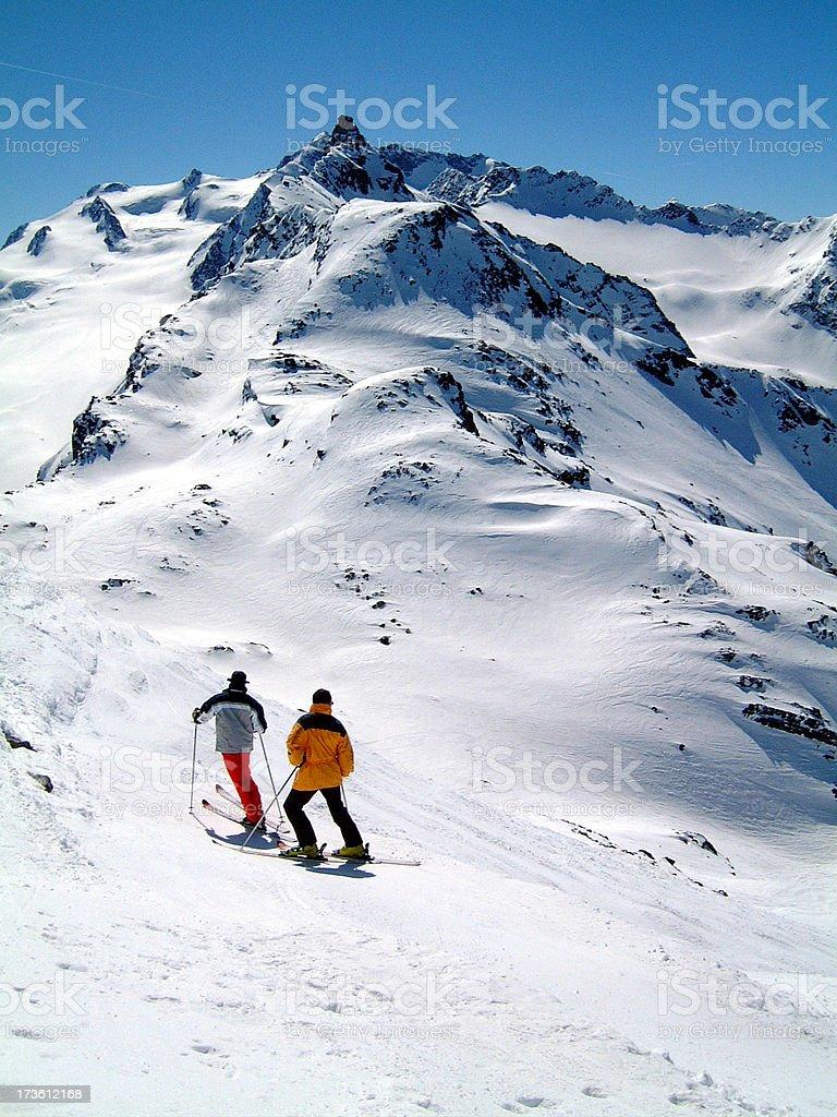 Intrepid Skiiers royalty-free stock photo