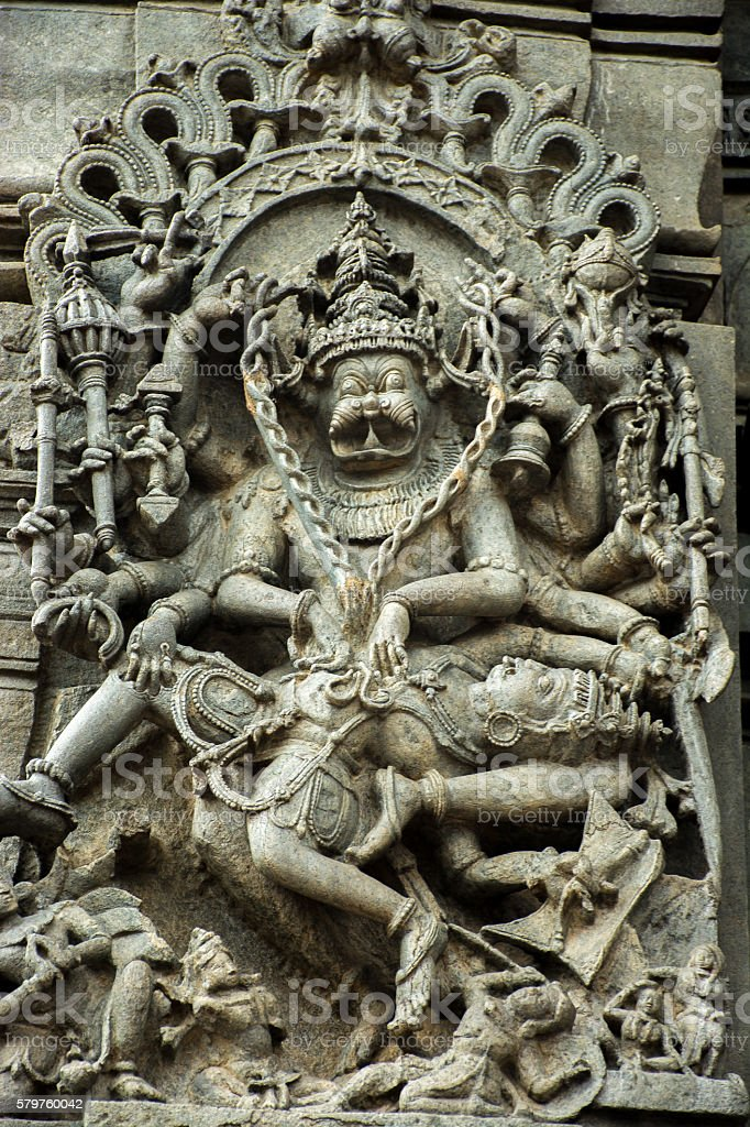 Intricate artwork at ancient hindu temple in Belur Karnataka stock photo