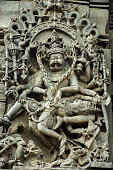 Intricate artwork at ancient hindu temple in Belur Karnataka