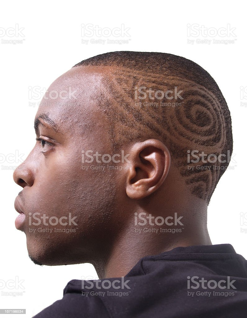 Intricate Hair style, Profile of a young man royalty-free stock photo