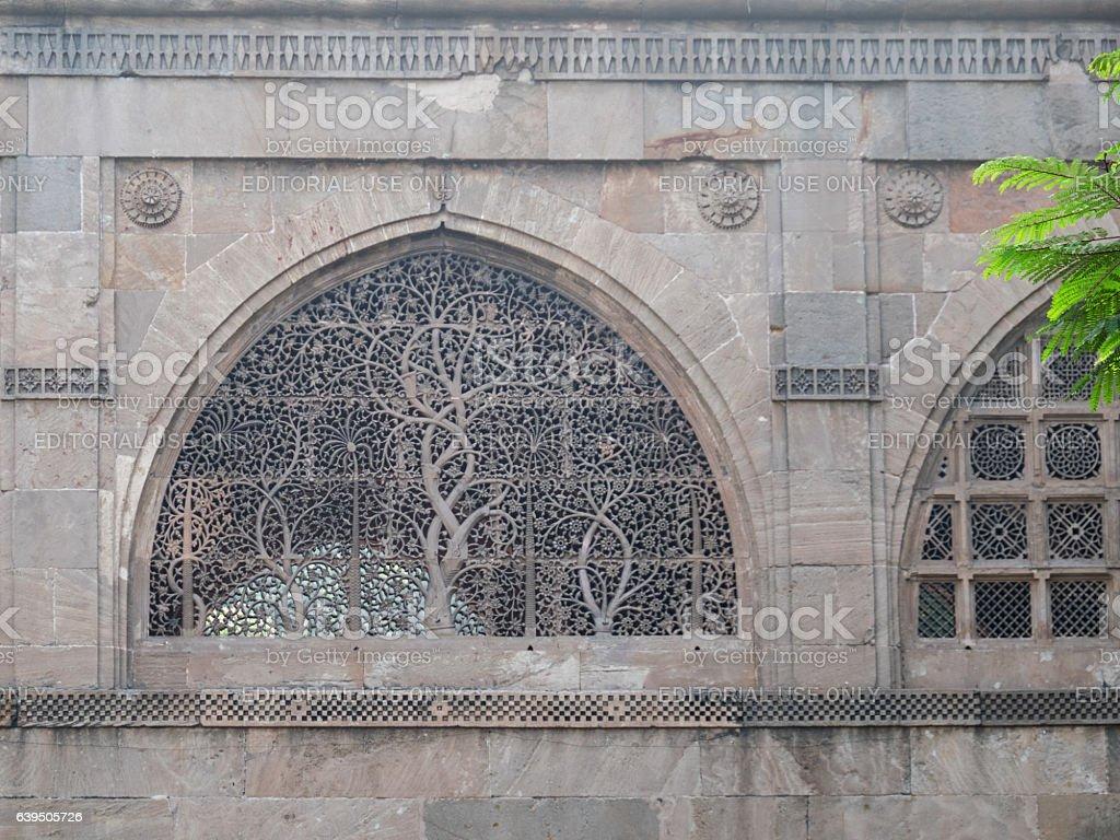Intricate stone latticework in Gujarat stock photo