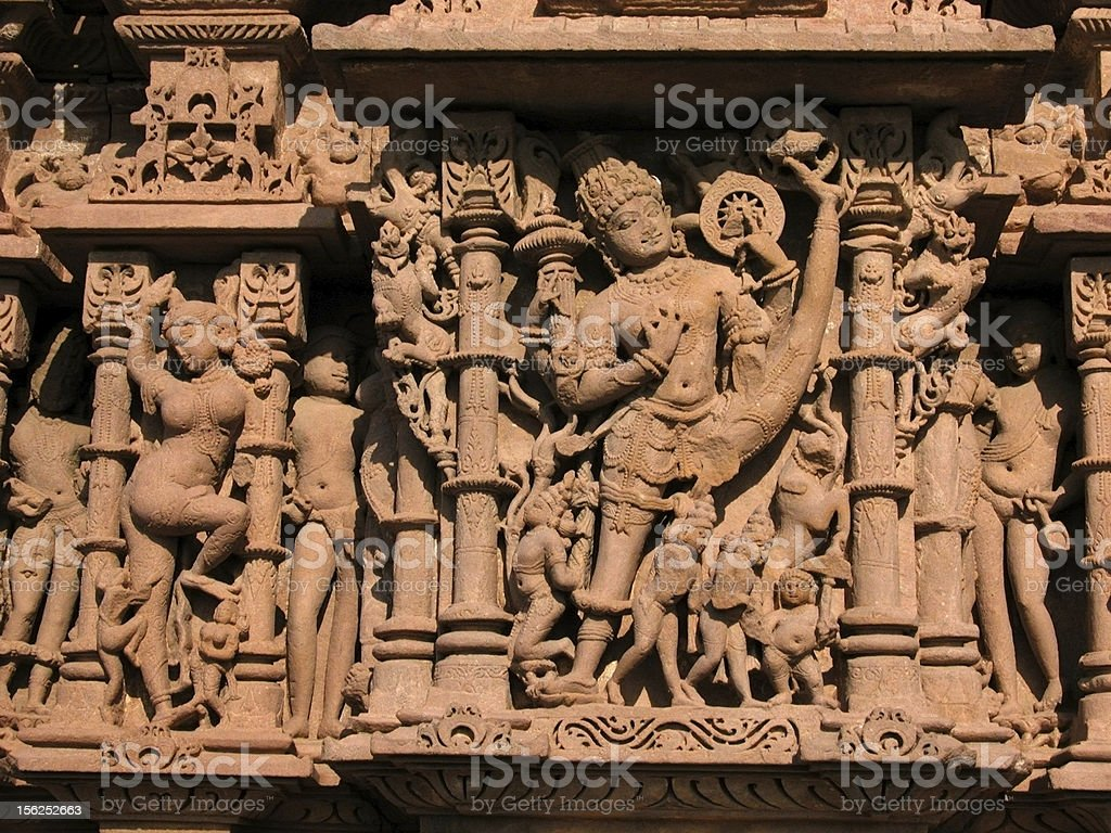 intricately carved Indian temple Rajasthan stock photo