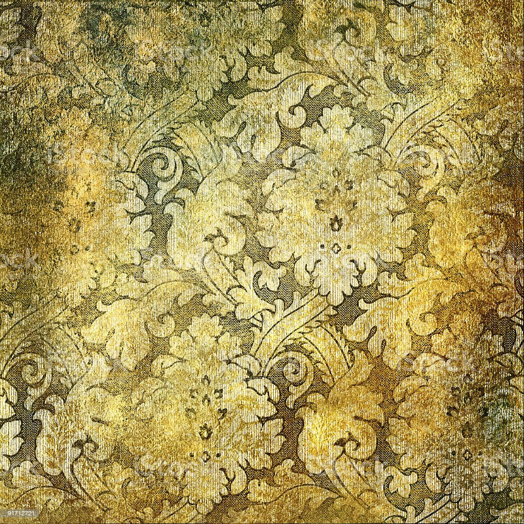 Intricately detailed weathered golden wallpaper royalty-free stock photo