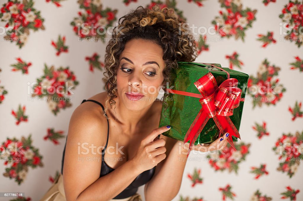 Intrigued by my new gift stock photo