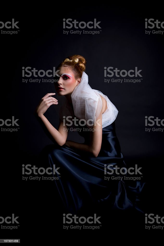 Beautiful Blond Young Woman Fashion Model, Black Gown, Makeup, Updo royalty-free stock photo