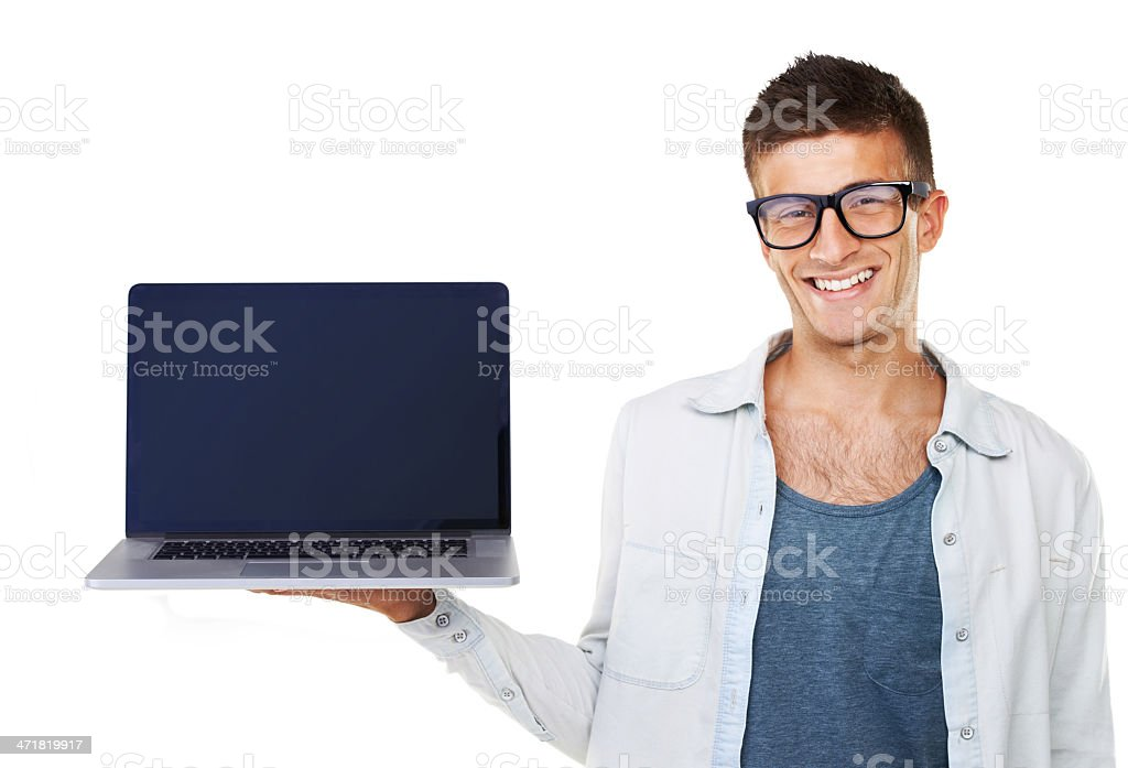 Introducing the latest laptop royalty-free stock photo