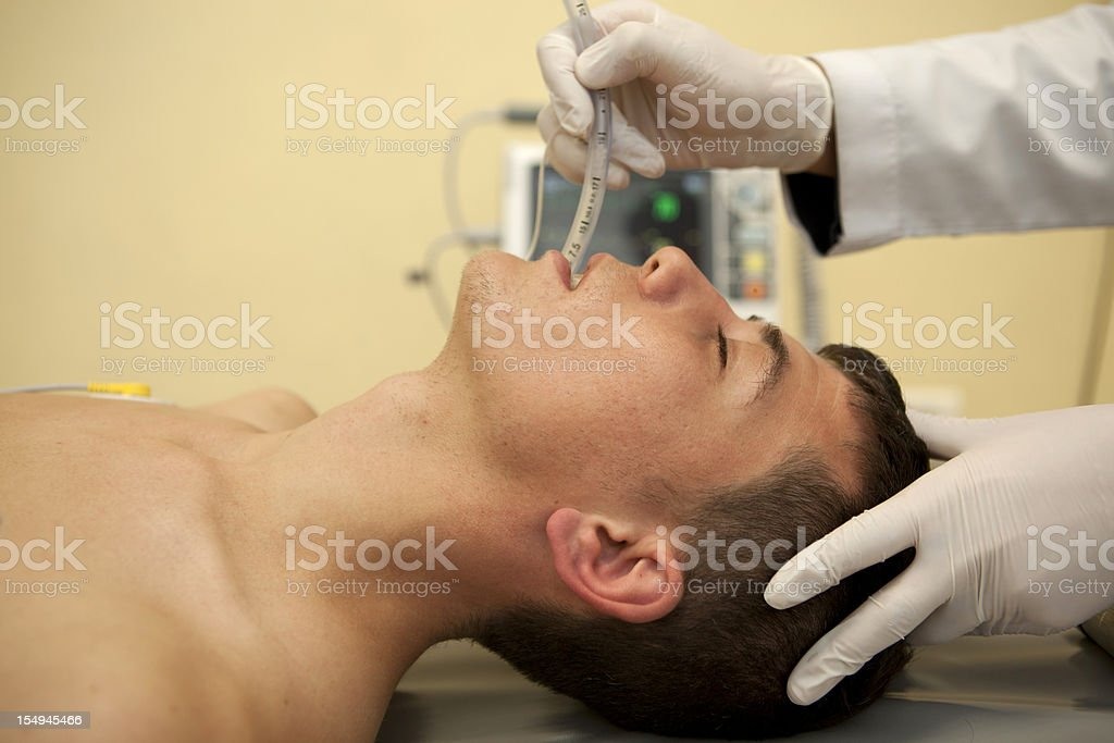 Intubation of a patient royalty-free stock photo
