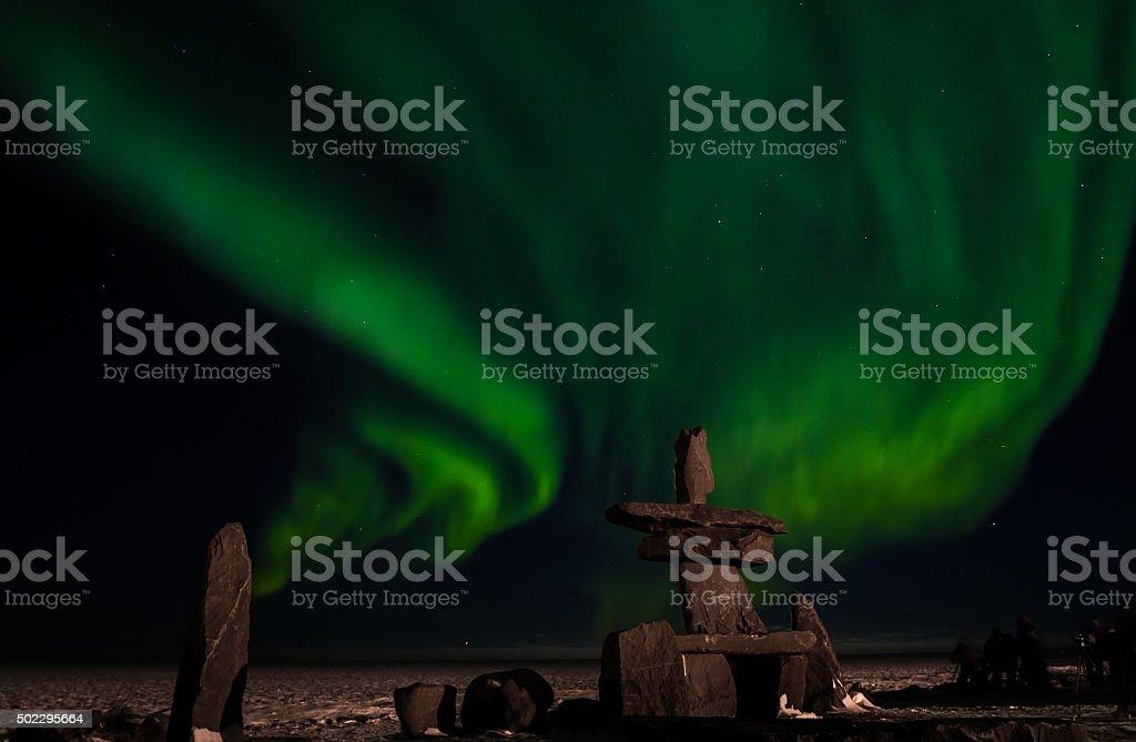 inuit hudson bay northern lights stock photo