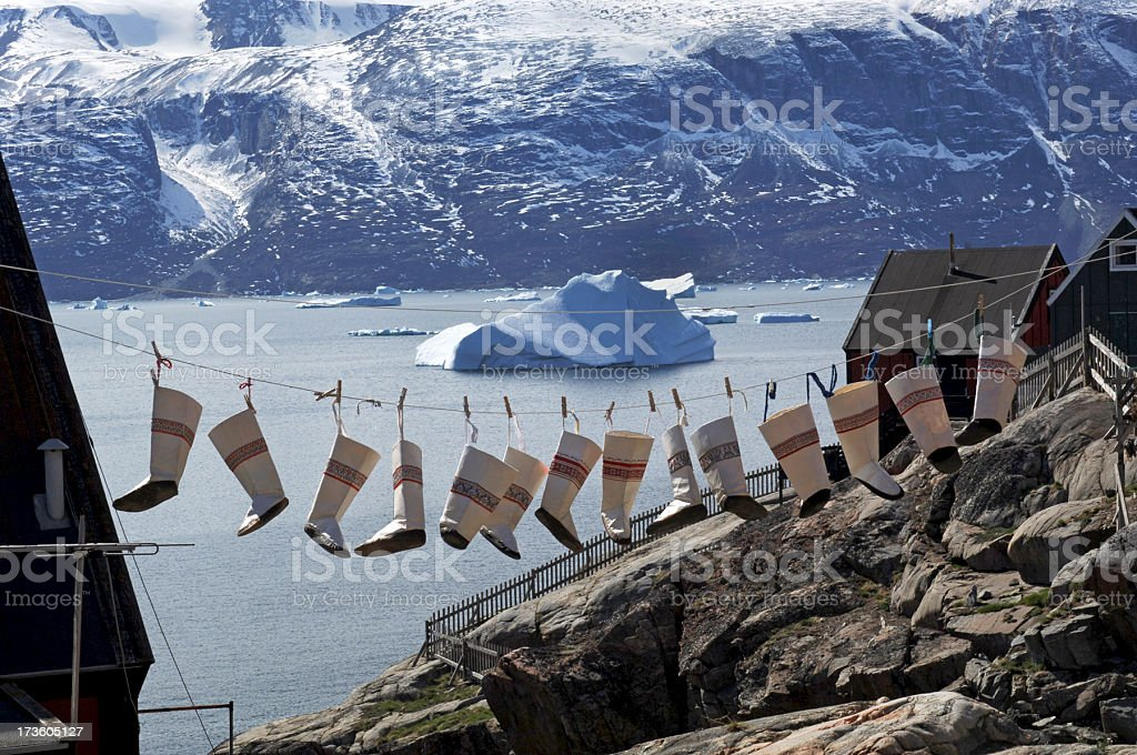 Inuit Sealskin boots stock photo