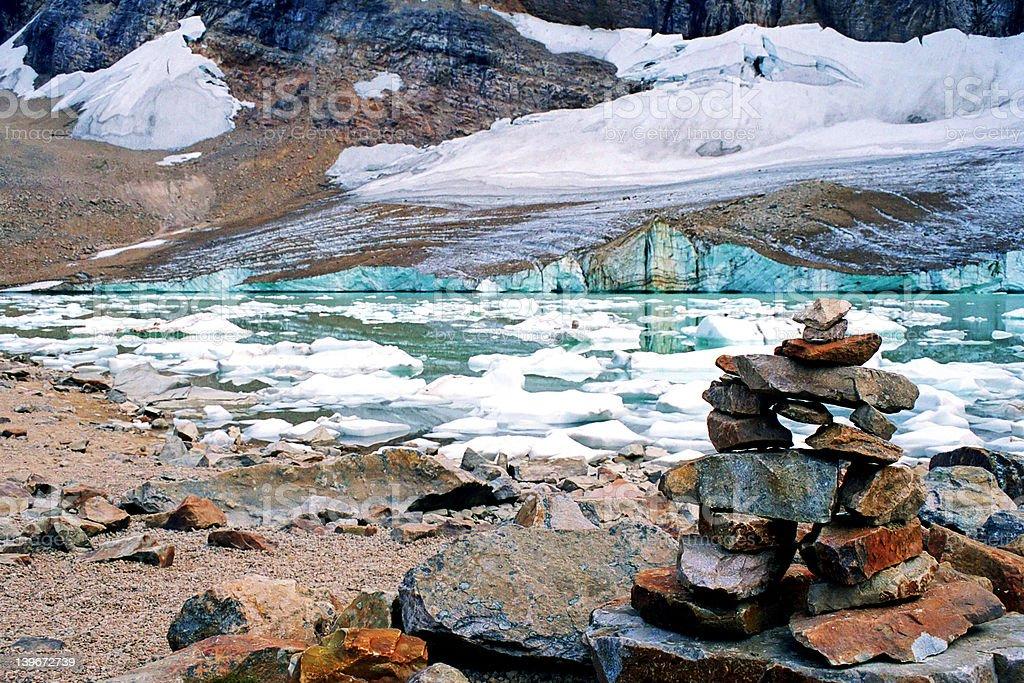 Inukshuk at glacial lake royalty-free stock photo