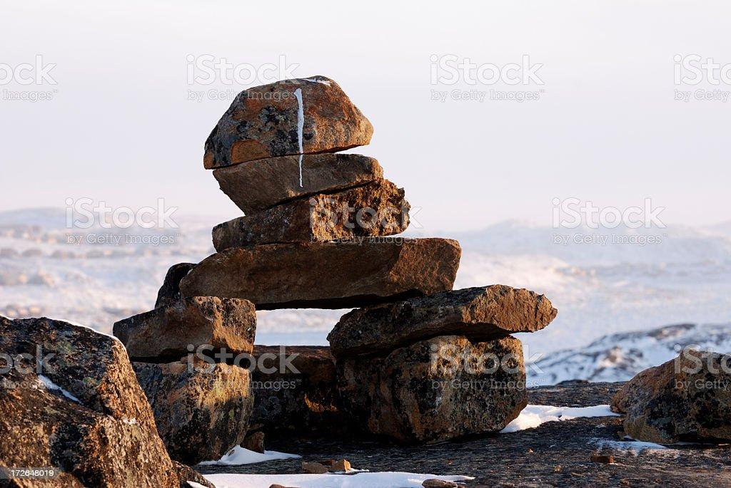 Inukshuk, Baffin Island. stock photo