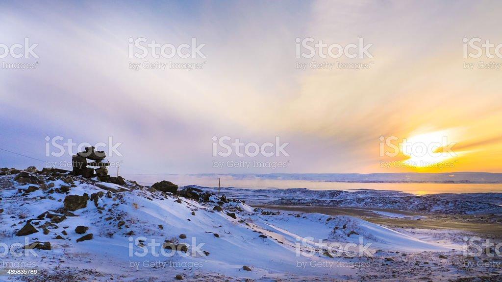 Inukshuk in iqaluit stock photo