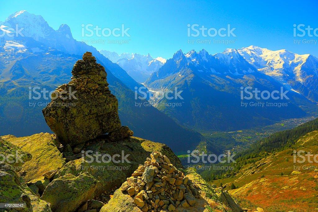 Inukshuk, Mer de Glace, Mont Blanc alpine landscape - Chamonix stock photo