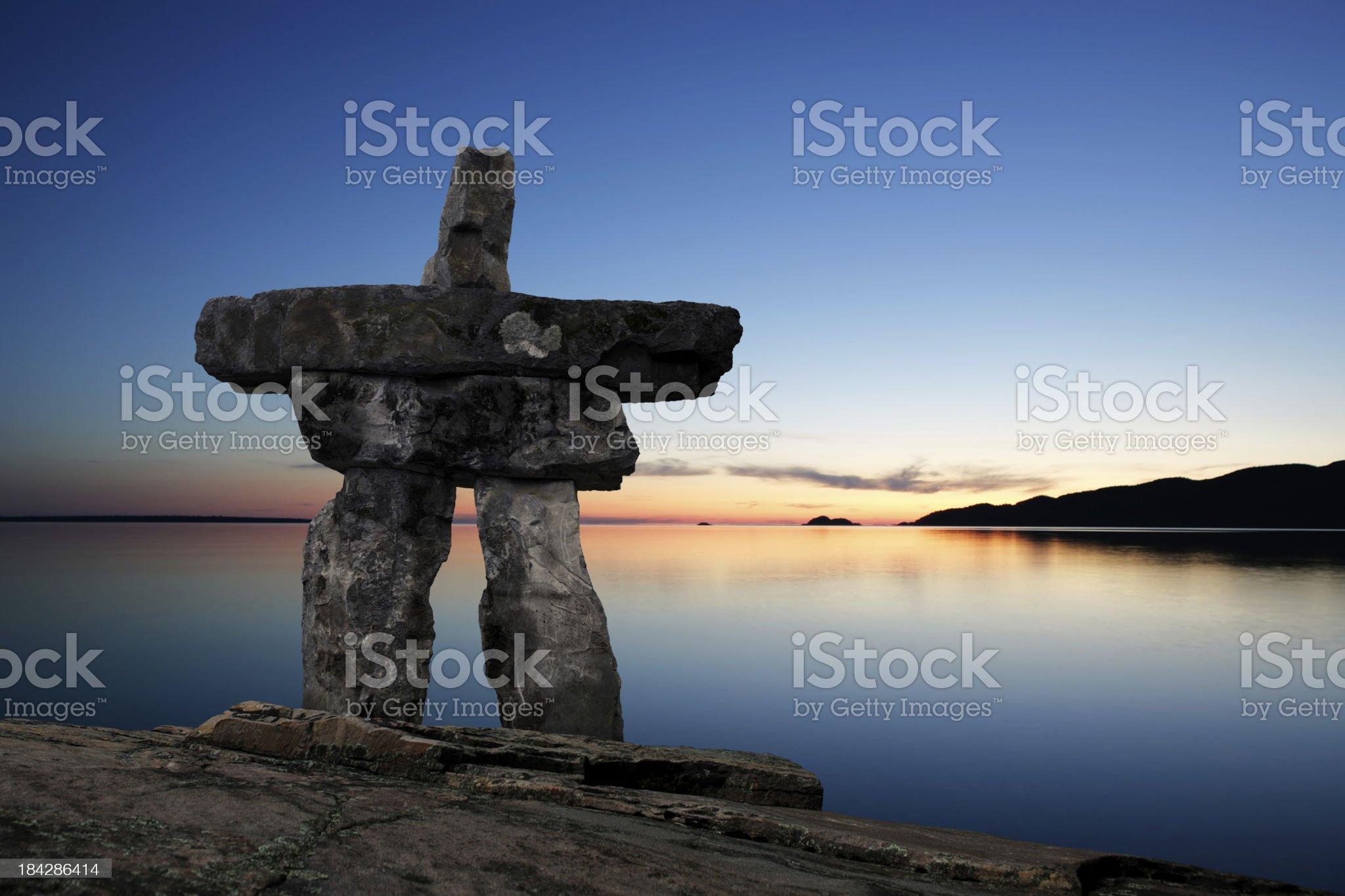 XL inukshuk twilight royalty-free stock photo