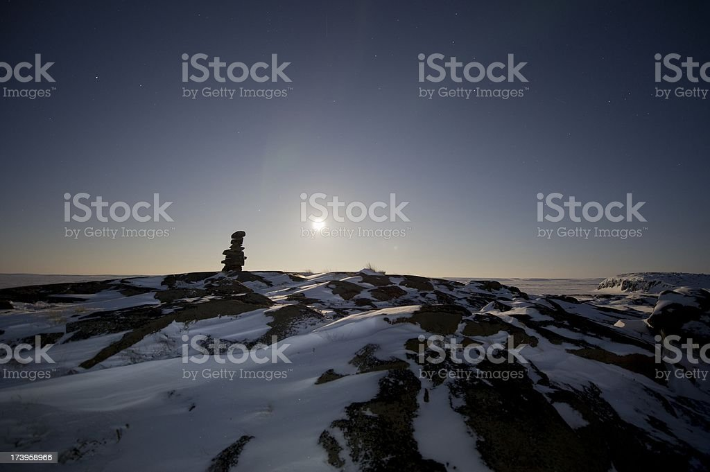 Inukshuk twilight silhouette royalty-free stock photo