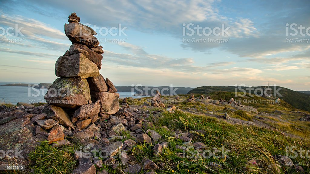 Inuksuk (Inukshuk) on Signal Hill, St. John's, Newfoundland stock photo