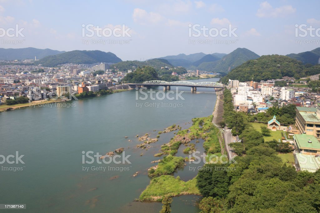 Inuyama City and Kiso River in Japan stock photo