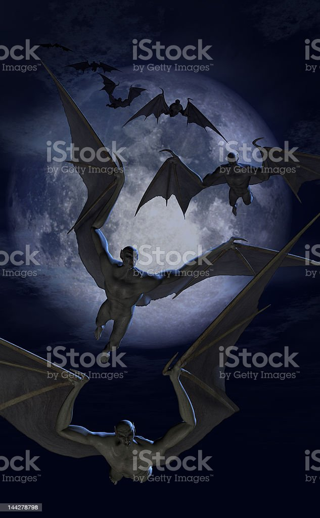 Invasion of the Bat Creatures royalty-free stock photo