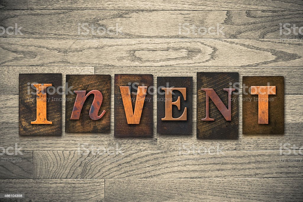 Invent Concept Wooden Letterpress Type stock photo