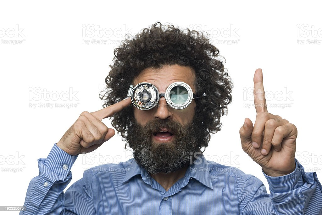Inventor scientist with his old fashioned smart glasses stock photo