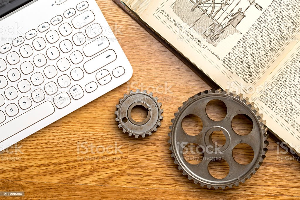Inventor's desk stock photo
