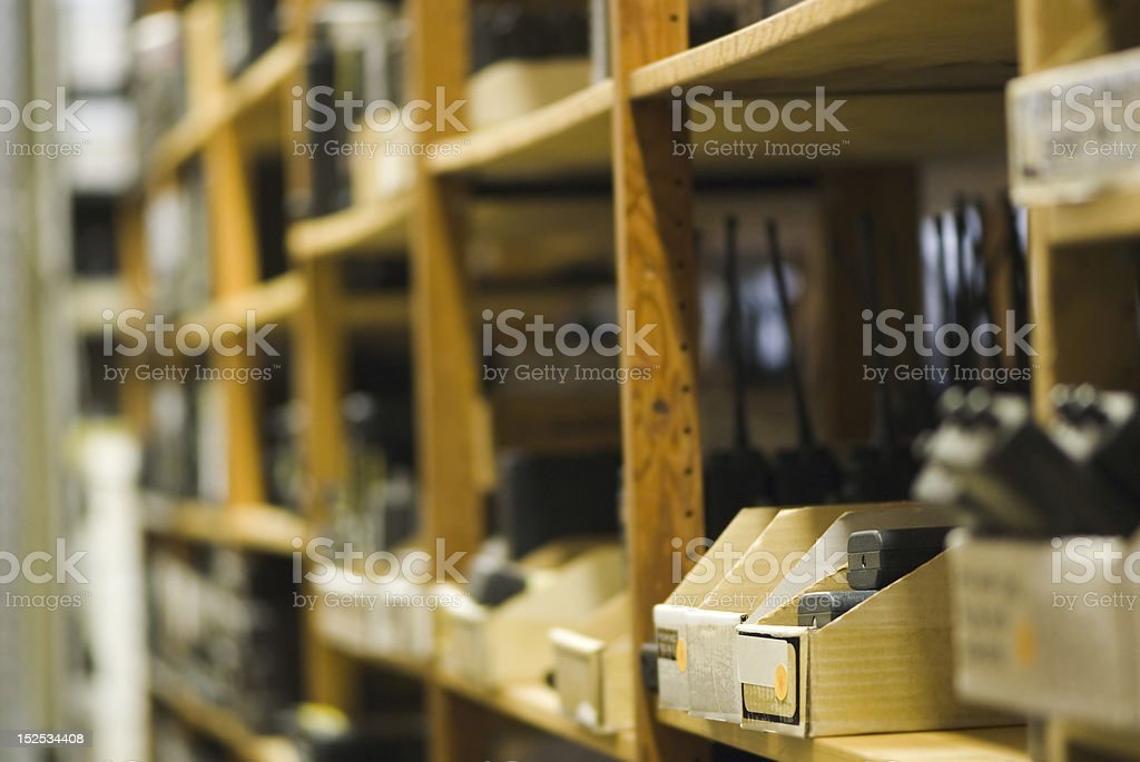 Inventory Boxes on shelves royalty-free stock photo