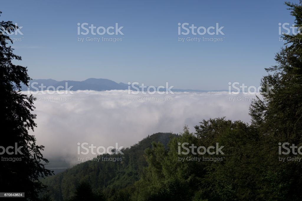 Inversion from mountains. Slovakia stock photo