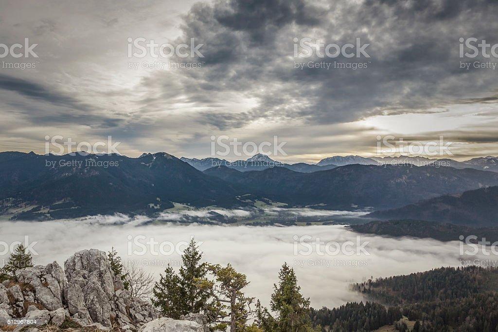 Inversion in autumn stock photo