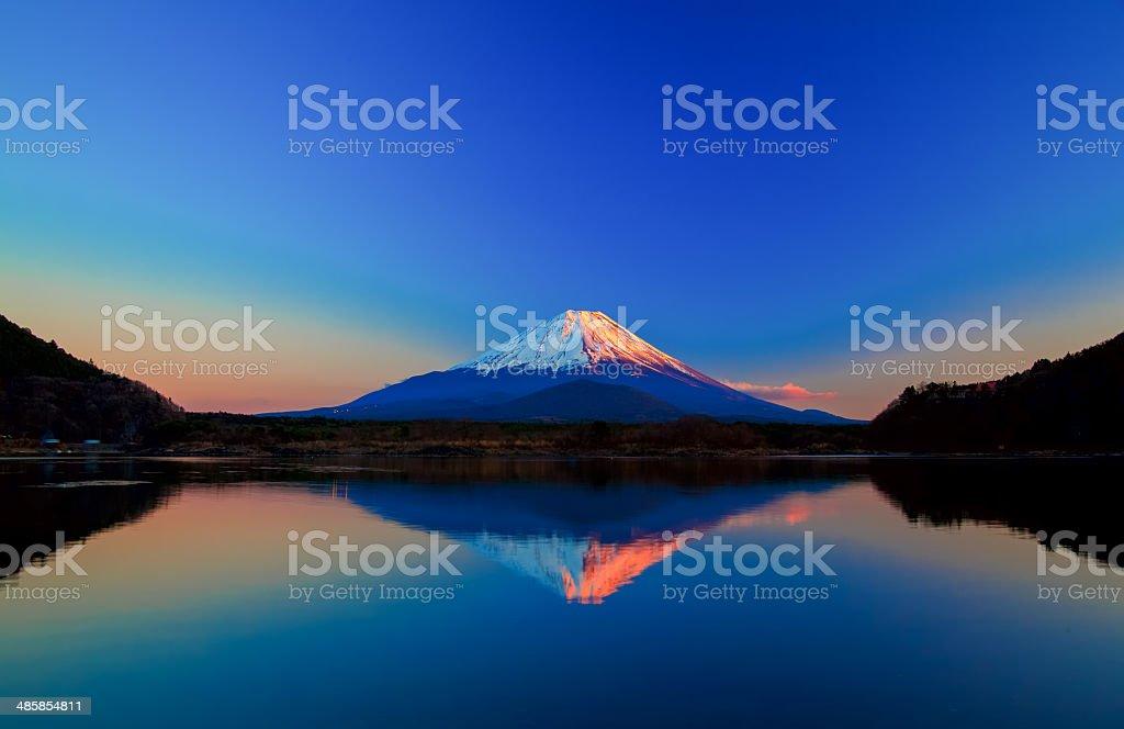 Inverted image of Mount Fuji at sunrise royalty-free stock photo