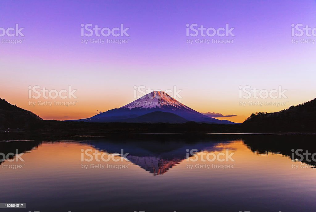Inverted image of Mt.Fuji at silent early morning stock photo
