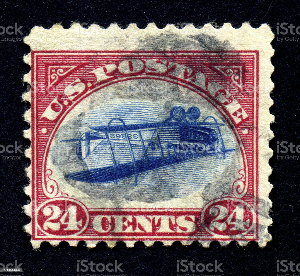Inverted Jenny 24 cent airmail stamp stock photo