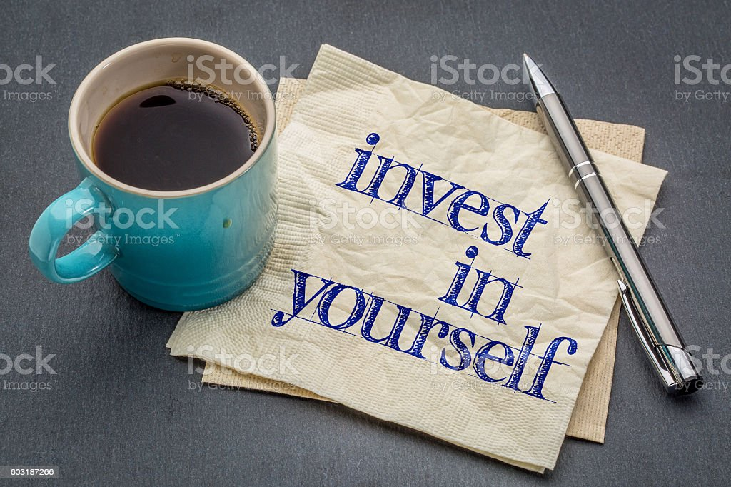 Invest in yourself advice stock photo